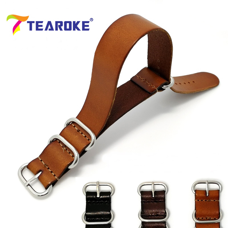 TEAROKE ZULU Leather Watchband NATO Watch Band Strap 18mm 20mm 22mm Sliver Ring Spenn Herrer Dame Klokker Tilbehør