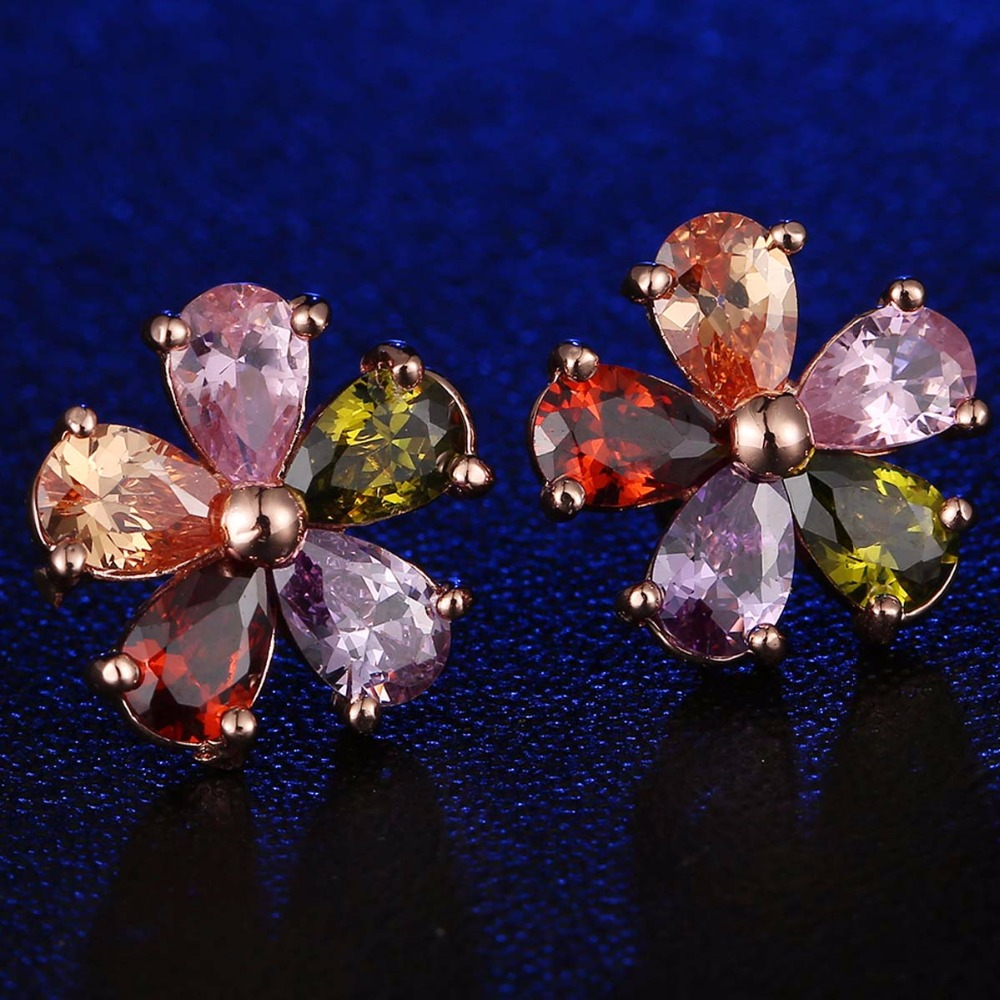 flower lisa brincos mona pendientes in item cz colorful stud from mujer women jewelry earrings shaped zirconia beautiful for