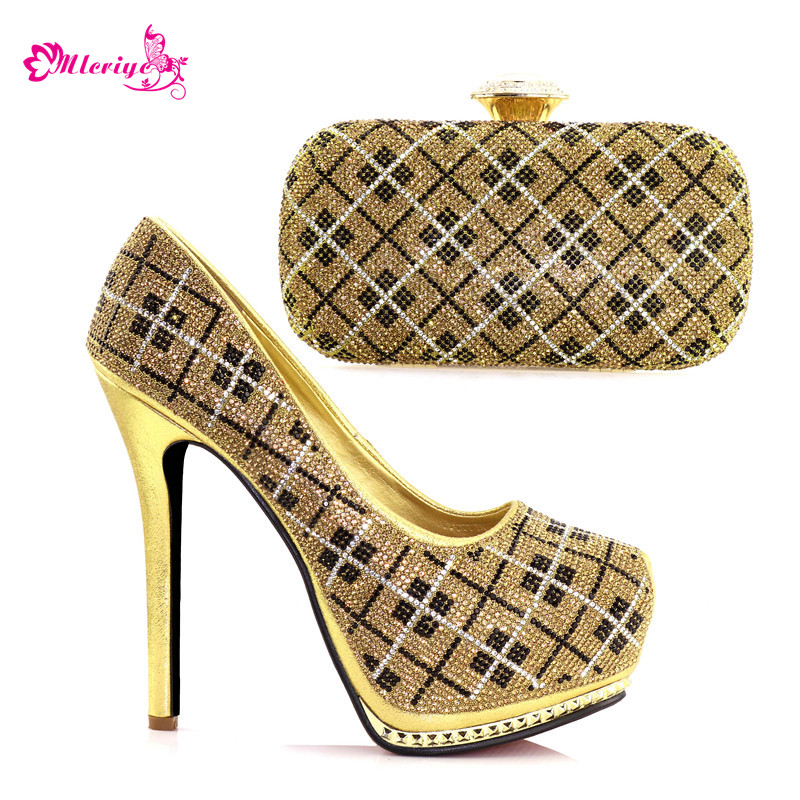 New Arrival Matching Shoes and Bag Set In Heels Nigerian Women Wedding Shoes and Bag Set Decorated with Rhinestone Party Pumps capputine new arrival rhinestone slipper shoes and matching bag set africa style high heels shoes and bag set evening party