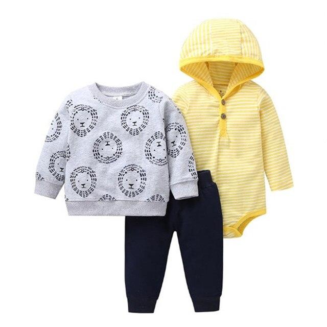 2019 新 3 本セットベビー少年少女漫画 Tシャツ長袖ボディスーツプリントパンツ PP 綿新生児ストライプ服セット
