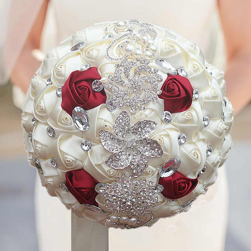 WIFELAI-A Buatan Karangan Bunga Pernikahan Buatan Tangan Bunga Rhinestone Bridesmaid Kristal Bridal Pernikahan Bouquet De Mariage W228