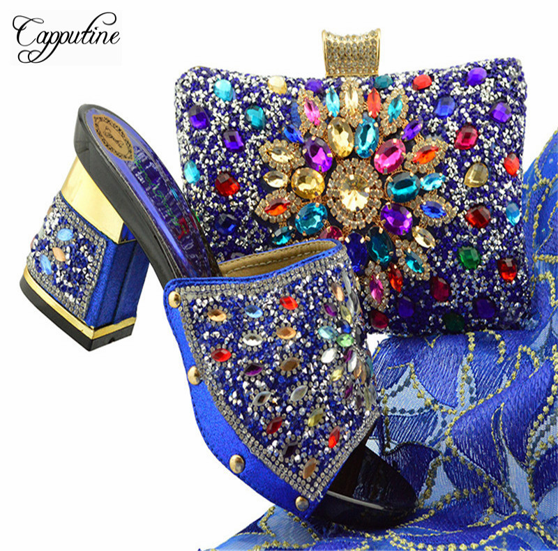 Capputine Hot Selling Women High Heels Shoes And Bag Set Italian Design Party Shoes And Bag Set For Dress 7Colors Sales YT004