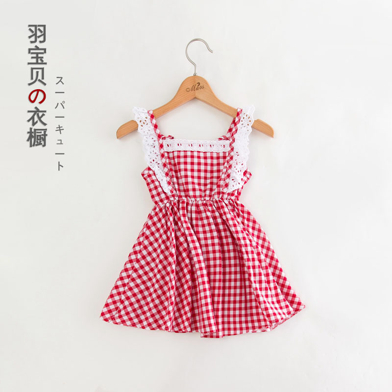 2018 Summer New Korean Children Clothing Girls Lace Fly Sleeve Gingham Dress Sweet Baby Fashion Kids Clothes contrast lace cuff frill detail smocked gingham dress