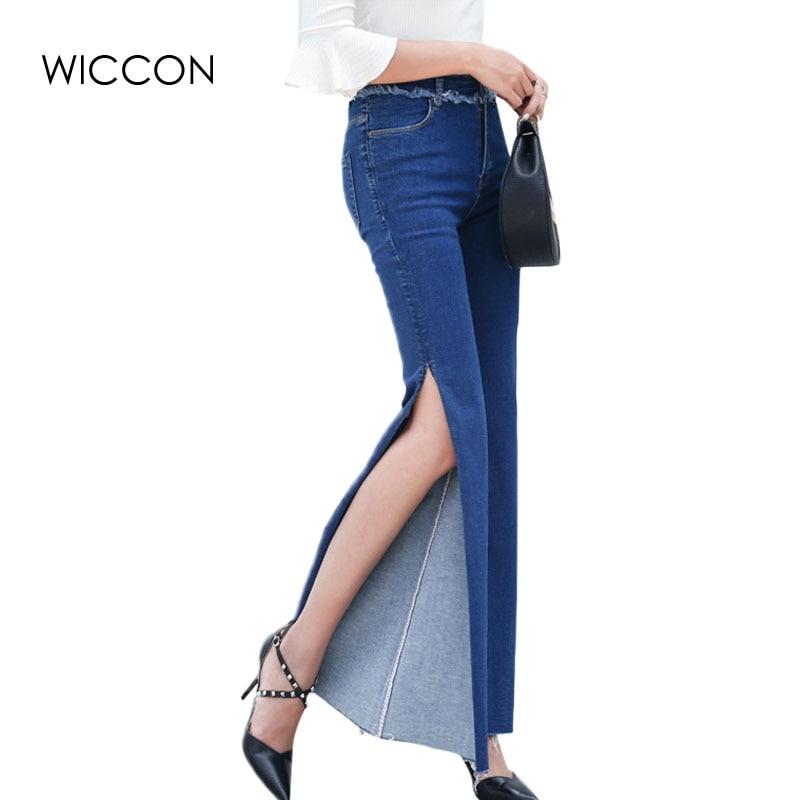 3f8ef58e7a8 2019 осень персонализированные Для женщин с боковыми джинсы Высокая Талия  крутые джинсовые Широкие штаны брюки джинсы бойфренды для Для женщин WICCON  купить ...