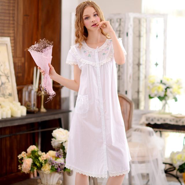 Camisolas Das Mulheres do verão 100% Algodão Tecido Curto-de Mangas Compridas Camisola Robe Nightdress Doce Princesa Sleepwear Salão Completo 1678