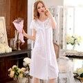 Summer Women'S Nightgowns 100% Woven Cotton Short-Sleeved Nightgown Robe Sweet Princess Sleepwear Lounge Full Nightdress 1678