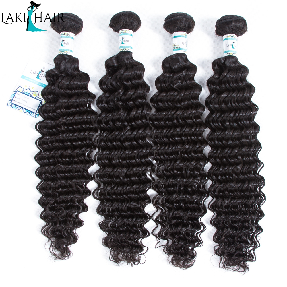 4 Bundles Malaysian Deep wave Human Hair Weave 8 to 30 Inch Bundles Natural Color Remy Hair Can Be Colored LakiHair