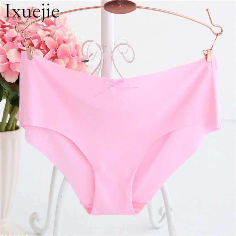 5beeaf1357 ... 6pcs lot M L XL Women Fashion Satin Briefs Sexy Seamless Panties Candy  Color Underwear ...