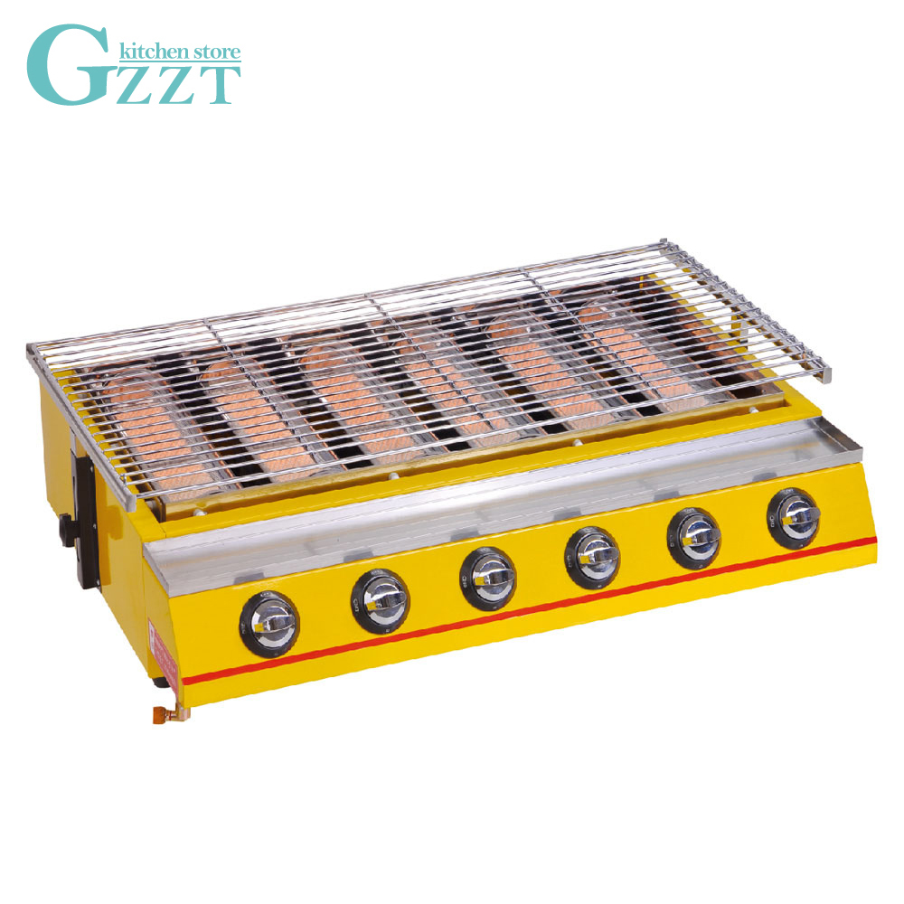 Commercial Household Big Size 6 Burners Gas BBQ Grill Glass Shield LPG 2800pa Barbecue Picnic