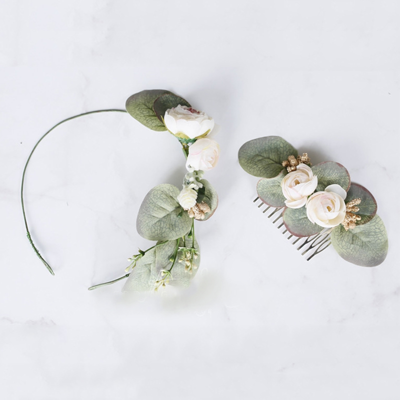 Trendy Greenery Flower Hair Comb Floral Women Headpiece for Wedding Ceremony Bride Accessories