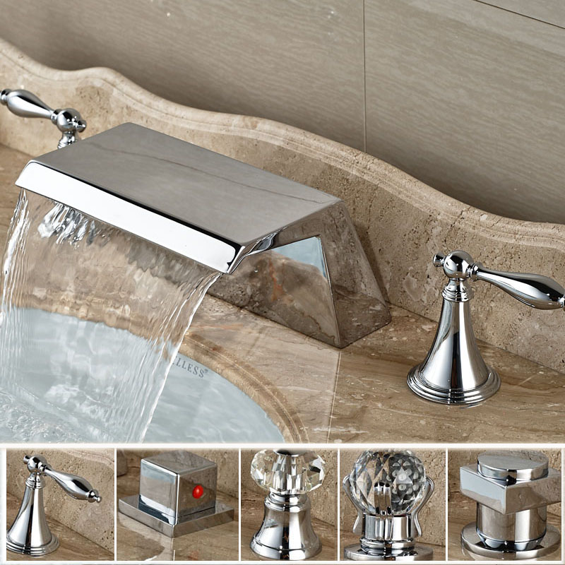 Bright Chrome Waterfall Wide Spout Basin Mixer Taps Bathroom Two ...