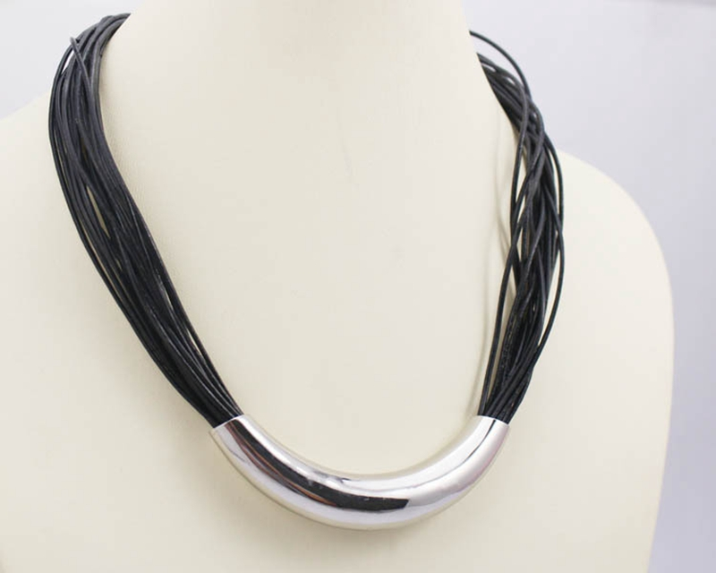 Fashion Multistrands Leather Chain Necklace Top Quality 316l Stainless Steel Tube Black Rope Chain Necklace Free Shipping