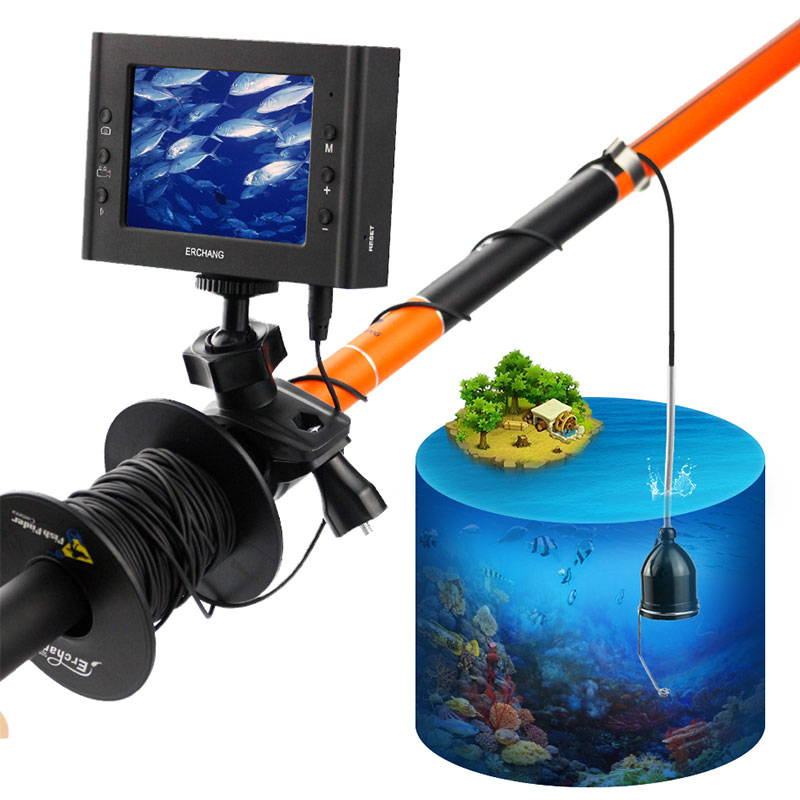 Erchang Fish Finder Underwater Ice Video Fishfinder Metal Fishing Camera IR Night Vision 3.5 inch Monitor camera kit HD 1000TVL 30m underwater fish cameras finder sea real time live underwater ice video fishfinder fishing camera ir night vision 4 3 screen