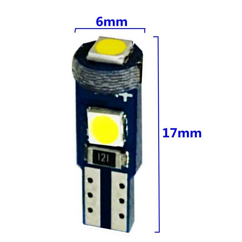 10Pcs T5 W3W W1.2W 74 Super Bright 3 SMD 3030 LED Car Board Instrument Panel Lamp Canbus Auto Dashboard Warming Indicator Light
