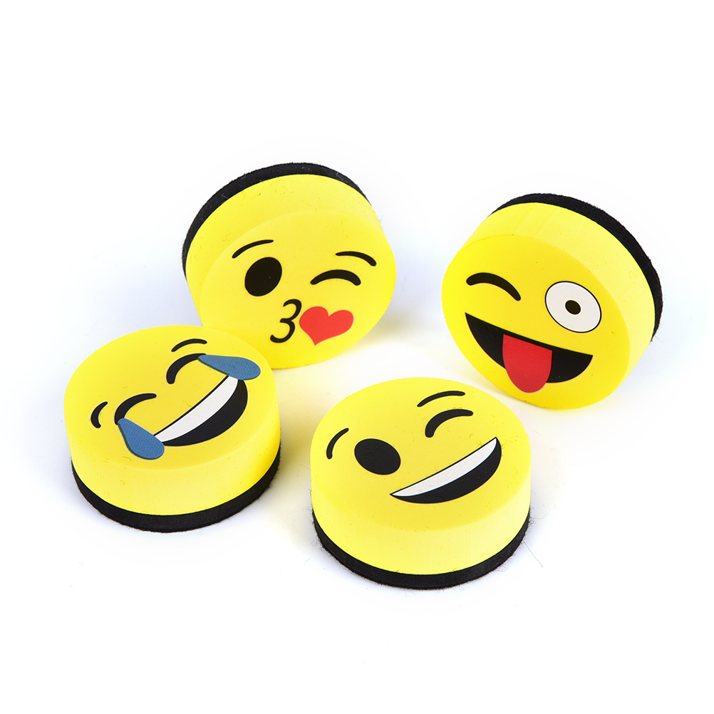 1pcs Yellow Smile Face Whiteboard Eraser Magnetic Board Erasers Wipe Dry School Blackboard Marker Cleaner 4 Styles Randomly Sent