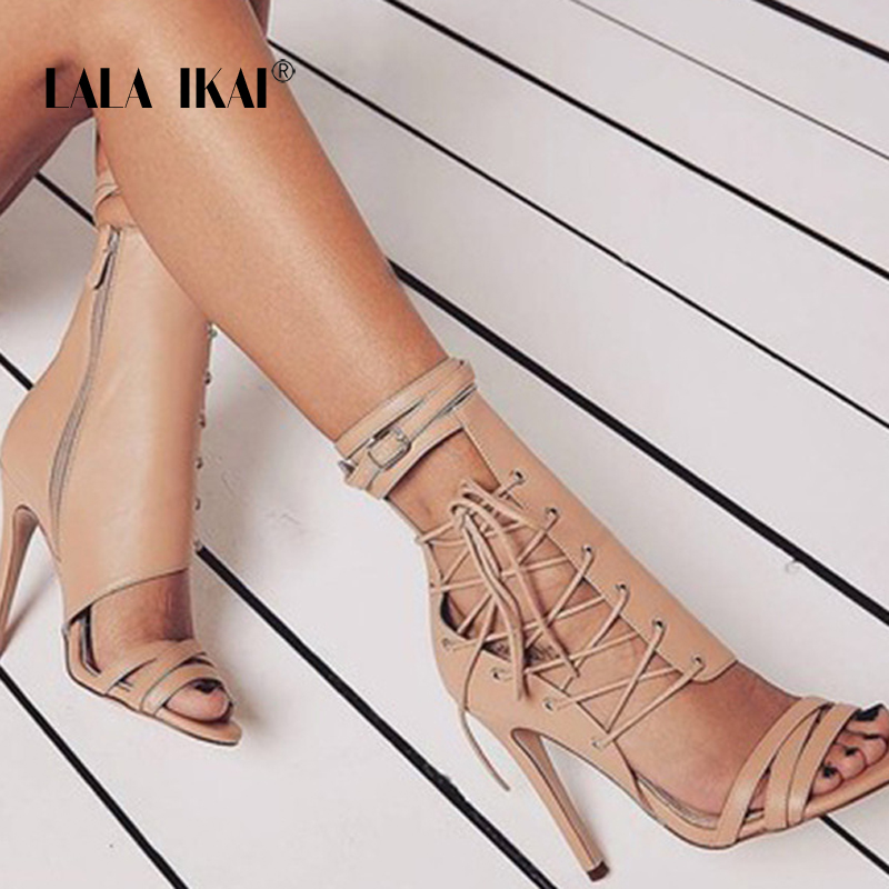 LALA IKAI 2018 Sexy High Heels Sandals Thin Heels Gladiator Women Sandals Summer Party Shoes Lace-Up Wedding Shoes 014C1029 -35