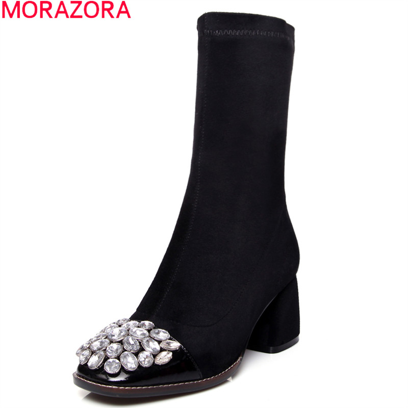 MORAZORA 2018 New fashion cow leather women boots autumn ankle boots round toe sexy rhinestone lady shoes autumn suede boots все цены