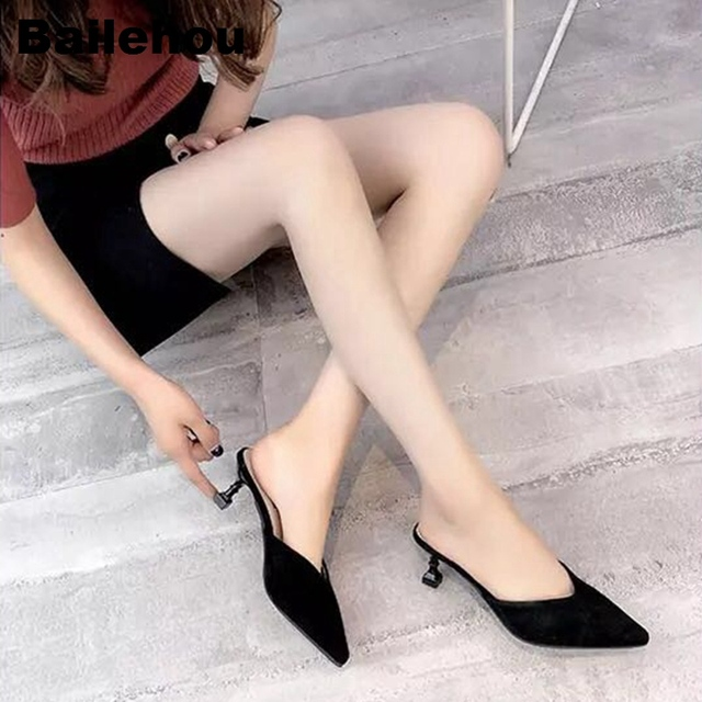 Bailehou Women Slippers Med Heel Sandals Summer Slip On Slides Fashion Mules Brand Plaid Shoe Women Casual Shoes Outdoor Slipper