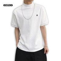 Men Stand Collar Metal Chain Design Shirt Sleeve Casual T shirt Male Streetwear Hip Hop Loose Tee Shirt