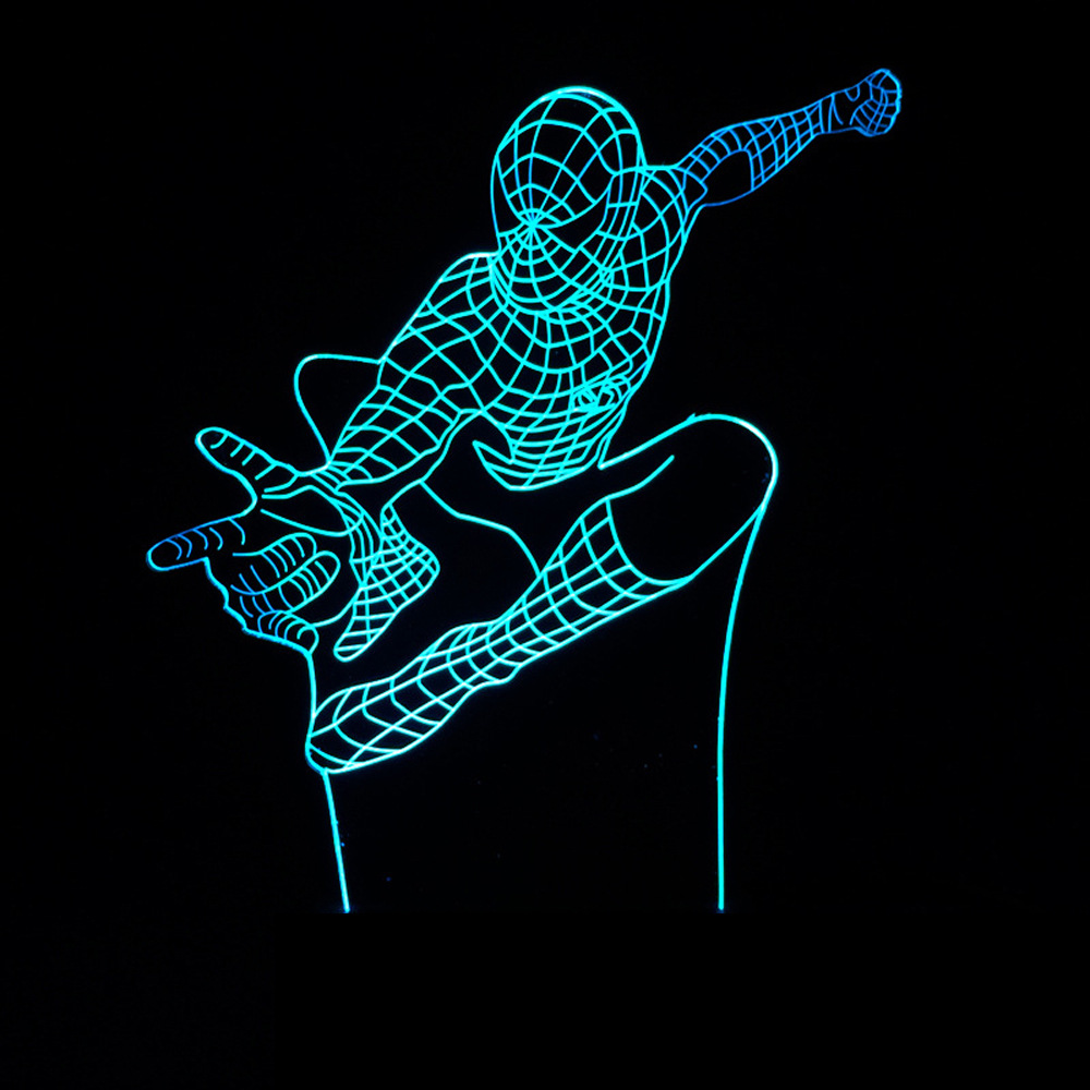 7 Amazing Colours For A Statement Wall With Wow: Creative Spiderman 7 Color 3D Desk Lamp Amazing Spider Man