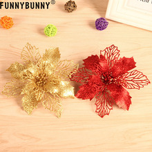 FUNNYBUNNY Christmas Glitter Artificial Flowers Leaves Tree Ornament Hanging Decor