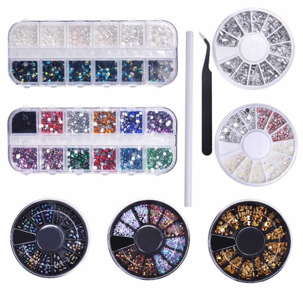 Biutee 3D Nail Crystal Rhinestones Set Multi-size Sharp Bottom Mixed Color Nail Art 3D Decoration Manicure DIY wakefulness ab color glass rhinestones crystal mix caviar nail art mini beads sharp bottom gemstones charms 3d nail decorations