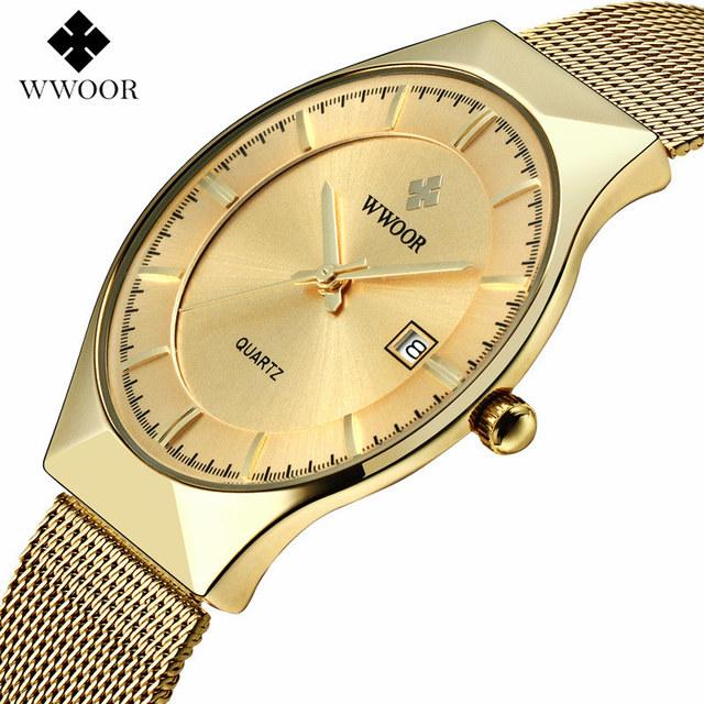 WWOOR 8016 Mens Watch Luxury Gold Full Steel Quartz Watch
