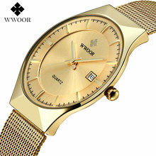 WWOOR 8016 Mens Watches Top Brand Luxury Gold Full Steel Quartz Watch Men Fashion Casual Sport Clock Male Wristwatches Relogios