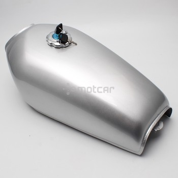 Silver Metal 9L 2.4 Gal Motorcycle Fuel Oil Gas Tank Cafe Racer Vintage with Tap Universal for Honda CG125 CG125S CG250
