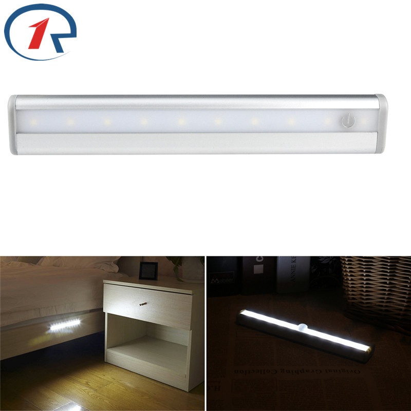 ZjRight 10 LEDs Touch the switch night light Battery powered Hallway Pathway Stair bookcase LED indoor Lights lamp Wall Lighting