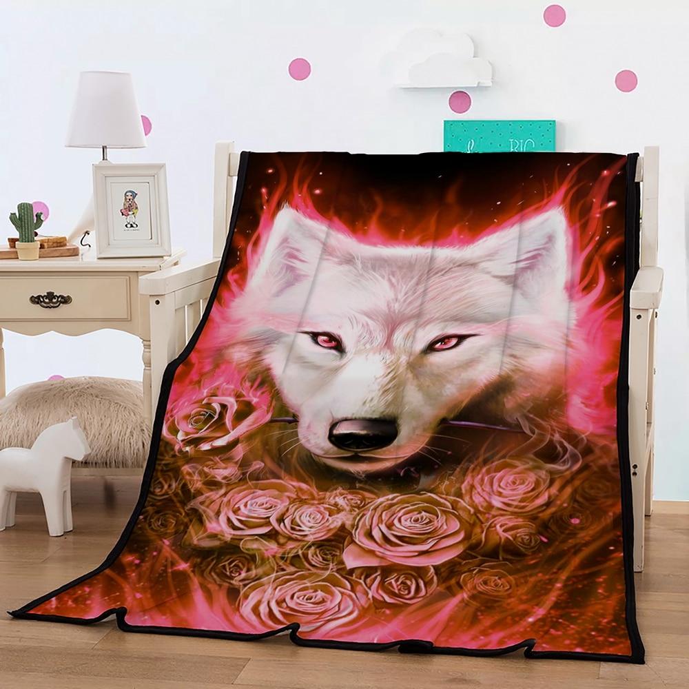 Animal Theme Blanket 3D Digital White Wolf Red Roses Printed Red Black Fleece Blanket Black Sherpa