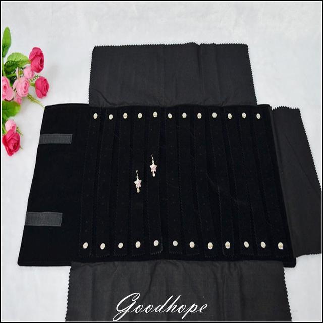Portable Organizer Soft Bag Foldable Black Velvet Jewelry Travel