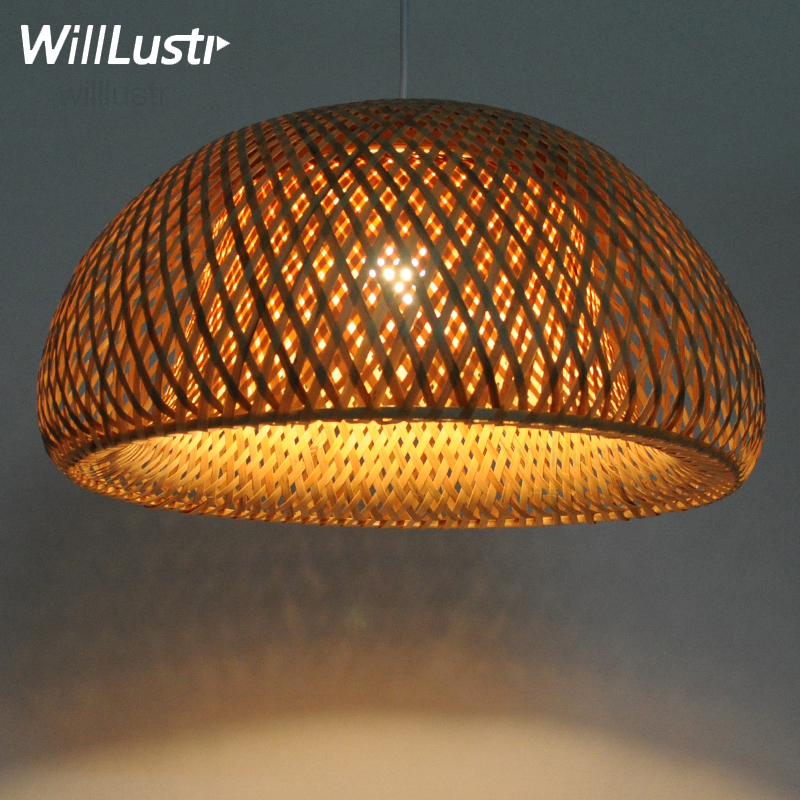 hand knitted suspension lamp handmade bamboo pendant lamp natural bamboo material lighting home dinning room restaurant hotel