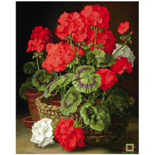 Red and White Flower 5d Diamond painting cross stitch square full diamond embroidery Floral Home Decor dimaond mosaic for gift