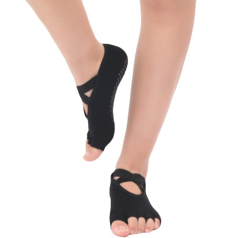 Women Yoga Socks Non-slip Toeless Socks Five Fingers Backless Cross Bandage Silicone Ballet Gym Fitness Sports Socks(China)