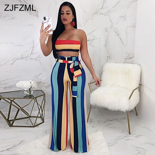 7a8257c464b7c ZJFZML Bow Sashes Casual Two Piece Set Women Strapless Cold Shoulder Short  Top And Summer Colorful Vertical Stripe Wide Leg Pant