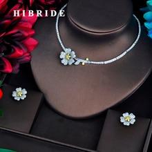 HIBRIDE Conjuntos de joyería nupcial para mujer, collar con Micro CZ pavé, diseño de flor de belleza, joyería amarilla, regalos de fiesta, N 569