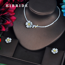 HIBRIDE Elegant Women Bridal Jewelry sets Micro CZ Pave Necklace Set Beauty Flower Design Yellow Jewelry Party Gifts N 569