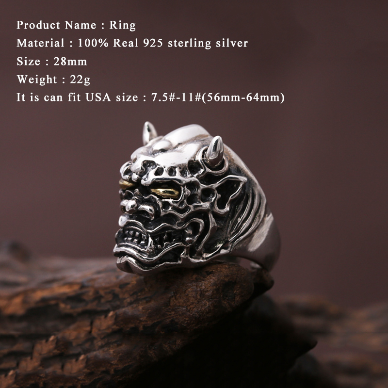Men Opening ring 100% Real 925 sterling silver Punk Rock Prajna masks devil Christmas Gift Adjustable Ring Men jewelry MR5-in Rings from Jewelry & Accessories    2