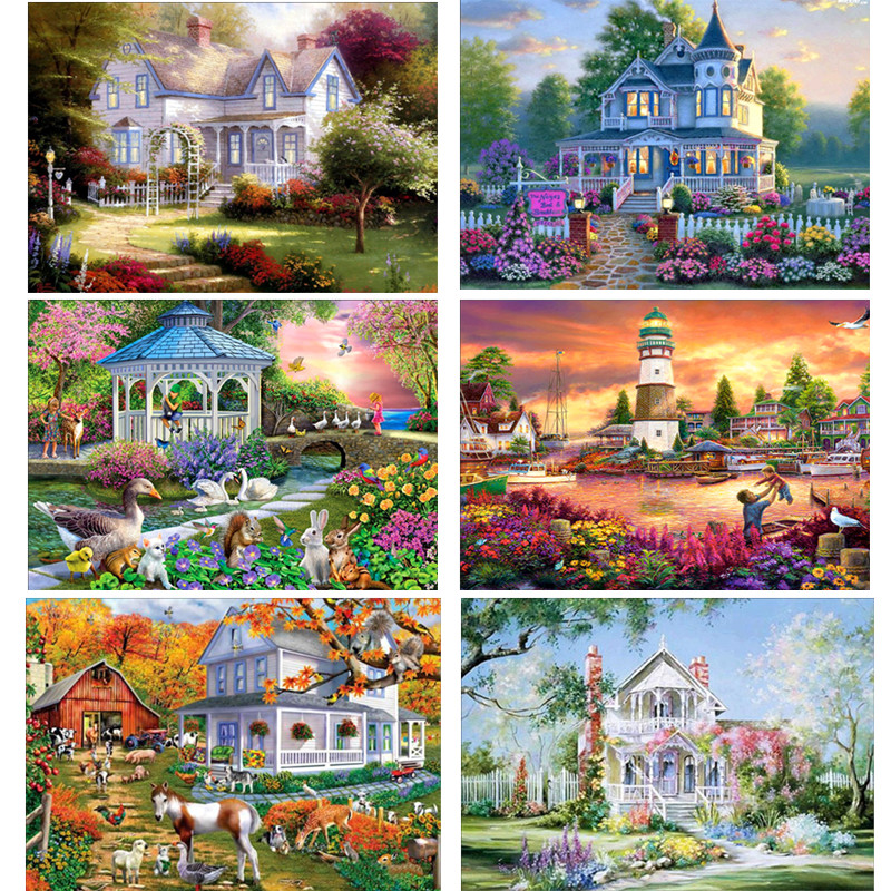 DIY Diamond Painting Landscape Garden Cottage New 5D Cross Stitch Pattern Resin Round Diamond Embroidery Mosaic Decoration