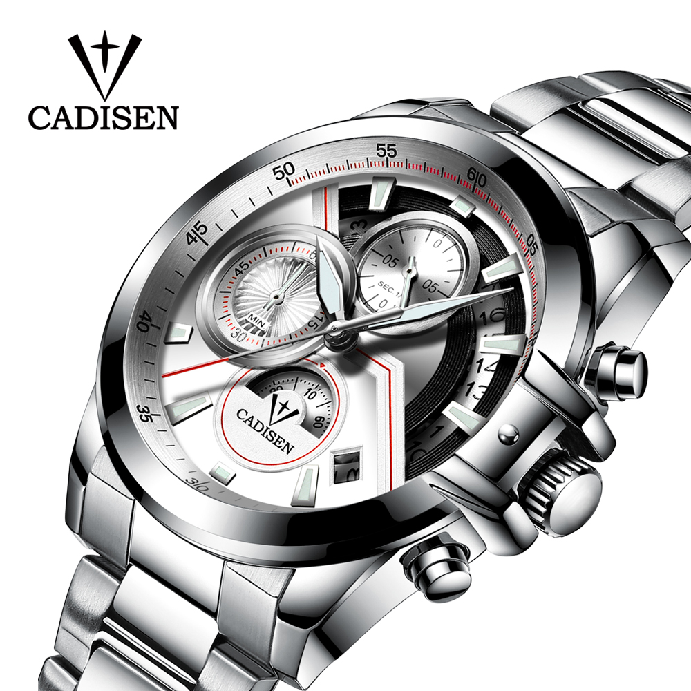 CADISEN Watch Men Fashion Sport Quartz Clock Men Watches Top Brand Luxury Full Steel Business Waterproof Watch Relogio Masculino men s watches curren fashion business quartz watch men sport full steel waterproof wristwatch male clock relogio masculino