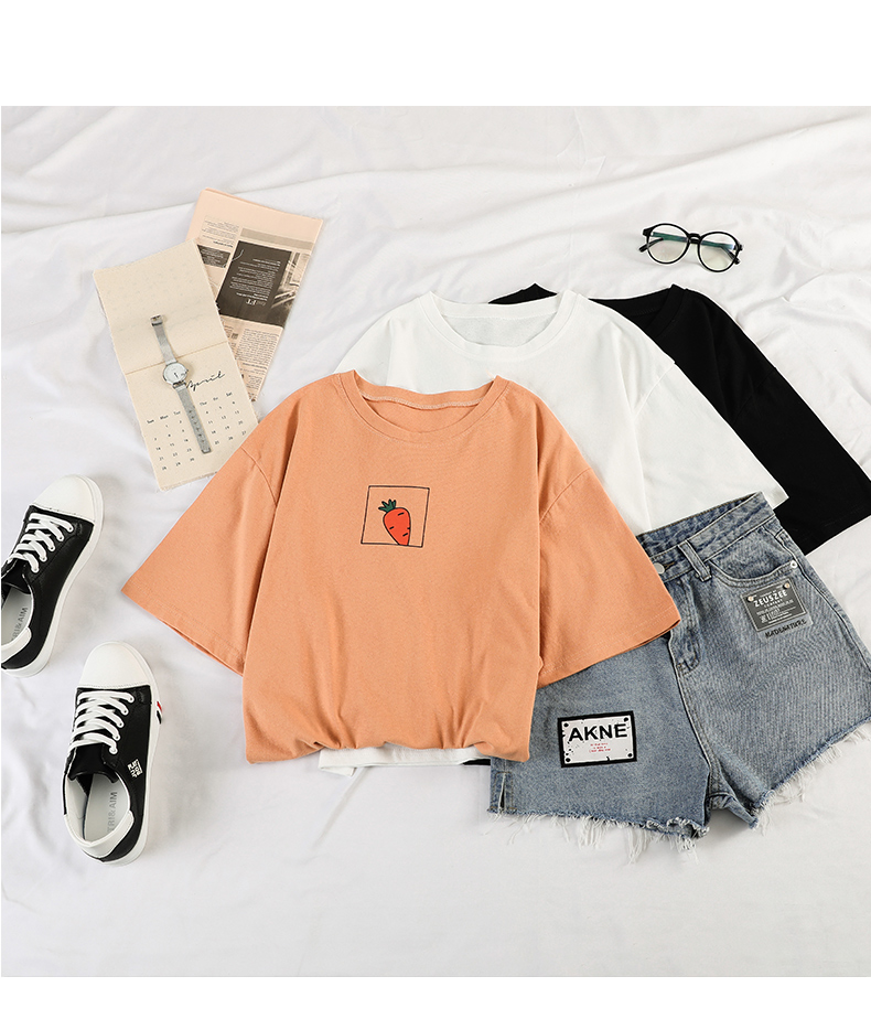 HTB1C5XGeBWD3KVjSZFsq6AqkpXaO - 90s girl Fashion T Shirt Women Kawaii carrot Print Short Sleeved O-neck T-shirts Vintage Ullzang Tshirt Harajuku Top Tees Female
