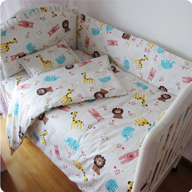 Promotion! 9pcs Full Set Lovely Baby bedding bed around pillow Baby cot bedding kit bed set,4bumper/sheet/pillow/duvet promotion 9pcs full set cot baby bed linen 100
