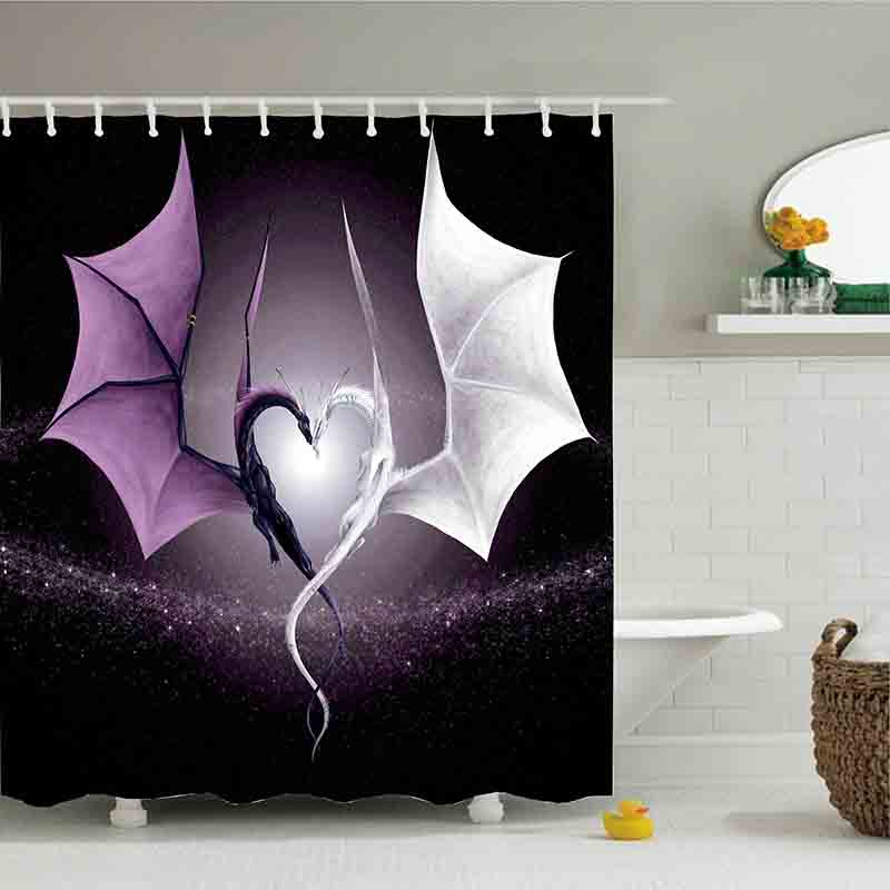 3D Black And White Dragon Intertwined Into Love Print Shower Curtain Polyester Waterproof Bathroom With Fabric 12 Hooks In Curtains From Home