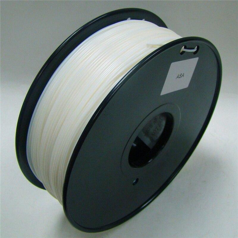 Белого цвета 3d Принтер Нити ASA 1,75 мм/3 мм 1 кг пластик Резина Расходные Материал MakerBot/RepRap/ UP/Мендель