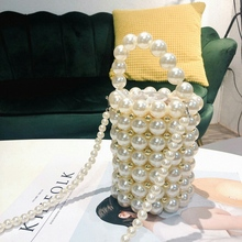 Ins Pearls Beading Bags for Women Fashion Handmade Pearls Handbags Vintage Eveni