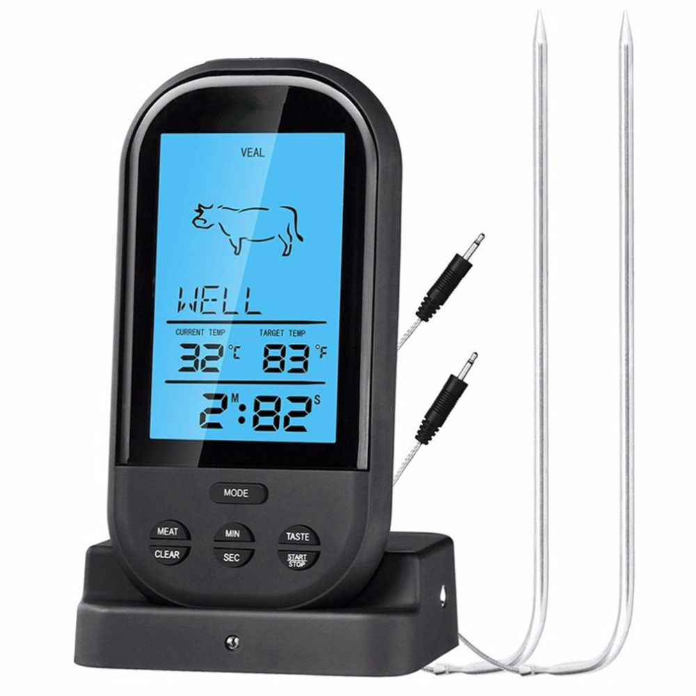 2018 Black Wireless Digital LCD Display BBQ Thermometer Kitchen Barbecue Digital Probe Meat Thermometer BBQ Temperature Tool
