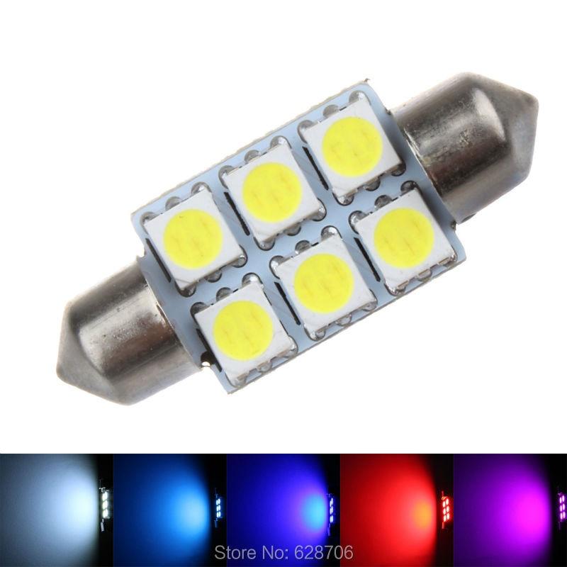 2pcs White Festoon Led Dome Light 5050 SMD 6 LED C5W Car Auto Interior Door Light Bulb 12V Reading Light Map Lamp 31/36/39/42mm