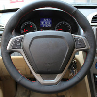 DIY Car Special Hand stitched Leather Steering Wheel Cover Car Steering Wheel Cover for Chery Rui Hurui Tiger 3 Free Shipping