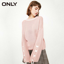 ONLY 2019 New Women Lace Up Flared Sleeves Loose Fit Pullover Sweater 118113512